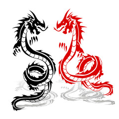 Two dragons red and black, in fight, silhouette on white background,