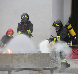 firefighters who use a foamer to extinguish a fire during an exe