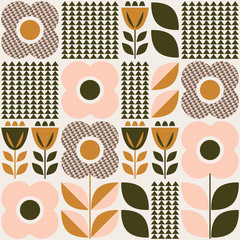 seamless pattern with floral elements in retro scandinavian style
