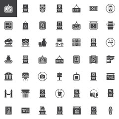 Museum vector icons set, modern solid symbol collection, filled style pictogram pack. Signs, logo illustration. Set includes icons as Mask, Diamond, Painting, Vase, Dinosaur, Picture, Glass showcase