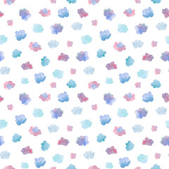 Seamless pattern with hand painted clouds in the sky. Colorful watercolor background for fabric, wallpapers, gift wrapping paper, scrapbooking. Isolated on white.
