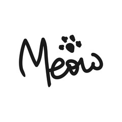 Imprint of cat's paws and handwritten text Meow. Sketch, doodle, scribble.
