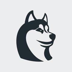 Icono plano cabeza de husky en fondo gris