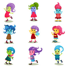 Cute troll characters set, happy creatures with different colors of skin and hair vector Illustrations on a white background