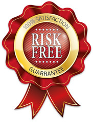 red and gold 100% risk free ribbon badge
