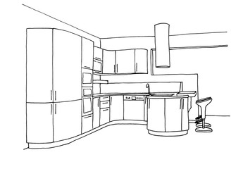 Graphical sketch of an interior kitchen, liner