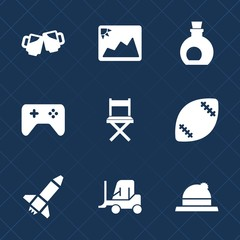 Premium set with fill icons. Such as lager, car, mug, joystick, photography, old, play, food, paper, game, hat, transport, seat, foam, mediterranean, image, fashion, style, clothing, oil, american