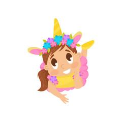 Lovely girl in unicorn costume vector Illustration on a white background