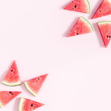 Watermelon pattern. Red watermelon on pastel pink background. Summer concept. Flat lay, top view, copy space, square