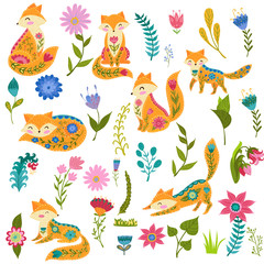Folk set vector colorful illustration with beautiful fox and flowers. Scandinavian style.