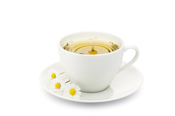 Fototapete - cup of chamomile with splashing drop and daisy on white background