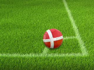 Soccer football with Danish flag