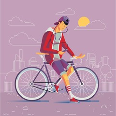 Fashionable charater with his bike in the city