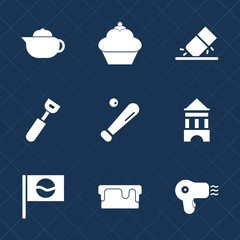 Premium set with fill icons. Such as hot, pot, pie, kitchen, white, school, equipment, rubber, erasing, office, tower, travel, tea, sport, chocolate, cupcake, cup, hairdryer, breakfast, japanese, cake
