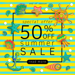 Summer Sale banner with pieces of marine items bright design. Vector eps 10 format