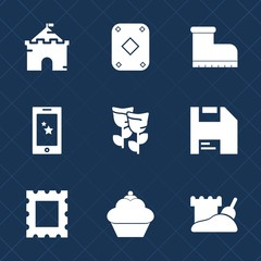 Premium set with fill icons. Such as palace, flower, game, play, spring, castle, leather, footwear, fairytale, doughnut, picture, casino, mobile, floral, diskette, computer, blossom, old, boot, food