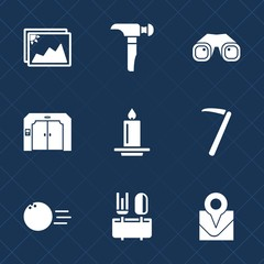 Premium set with fill icons. Such as sport, collection, down, tool, bowling, elevator, ball, photography, lift, blank, spanner, travel, frame, building, flame, fire, paper, dinner, construction, light