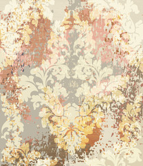 Baroque pattern Vector. Vintage Ornamented texture luxury design. Royal textile decors. Old painted background