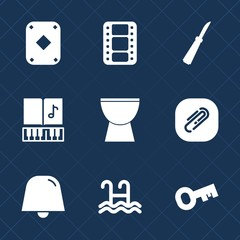 Premium set with fill icons. Such as sound, water, musical, note, game, knife, document, poker, notification, equipment, percussion, restaurant, metal, casino, paperclip, treble, clip, music, cinema