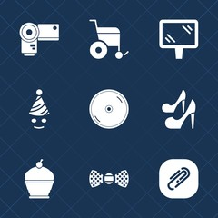 Premium set with fill icons. Such as photo, photographer, handicap, banner, photography, clown, bow, tie, disabled, road, celebration, cd, disc, accessibility, female, party, elegance, cake, paper