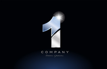 metal blue number 1 one logo company icon design Papier Peint