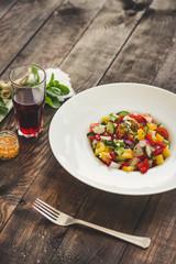 Organic vegetables - healthy food (fresh vegetable set).  Food background