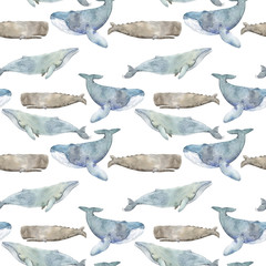Watercolor illustration with whale. Seamless pattern with watercolor whales.