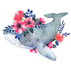 Watercolor illustration with whale. Print with watercolor whales and summer flowers.