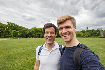 Two young friends taking selfie in Central Park