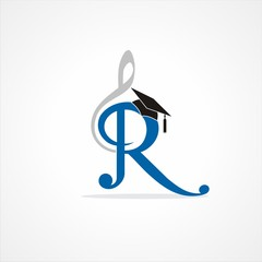 Letter R and Musical Symbol with Hat