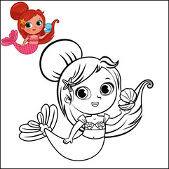 Cartoon Mermaid Character For Coloring Page Activity. (Vector illustration)