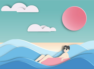 men floating on  beautiful beach background  paper cut style .candy color vector style.