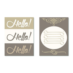 Greeting card with the words hello three shades