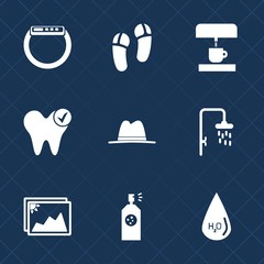 Premium set with fill icons. Such as care, fashion, drop, photo, water, screen, equipment, shower, object, machine, footwear, coffee, white, hygiene, hat, graphic, sign, time, smart, touch, bathroom