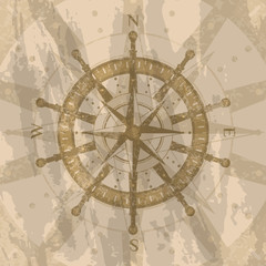 Vintage wind rose on grunge background. Geography research concept, worldwide traveling and exploration. Nautical navigation, topography and cartography, world discovery vector illustration.