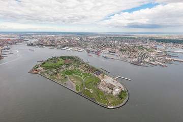 Aerial view of Governors Island and Brooklyn, New York City