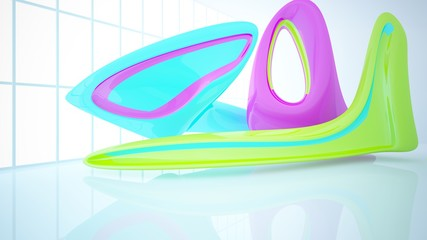 Abstract dynamic interior with colored gradient smooth objects. 3D illustration and rendering
