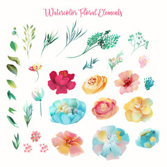 The set of watercolor hand drawn abstract flowers