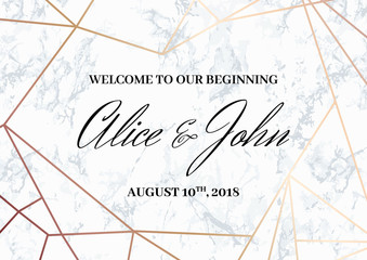 Wedding Welcome Sign Poster template. Geometric design in rose gold on the marble background. Dimensions horizontal A3 format. Seamless marble pattern in the palette.