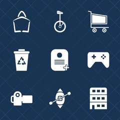 Premium set with fill icons. Such as bike, buy, sign, bag, photography, house, sale, photo, ecology, container, cart, city, circus, trolley, travel, technology, store, recycle, bin, , joystick, boat
