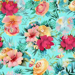 Beautiful, bright watercolor floral seamless pattern. Hand drawn flowers on blue background