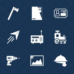 Premium set with fill icons. Such as picture, construction, spanner, restaurant, drill, tool, paper, identity, business, photo, screwdriver, plane, travel, sign, flight, waiter, technology, frame, fly