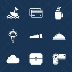 Premium set with fill icons. Such as cup, technology, credit, debit, business, torch, buy, bank, camera, flashlight, banking, tea, ship, cloud, plastic, boat, money, beverage, hot, service, photo, sea