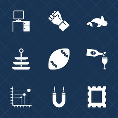 Premium set with fill icons. Such as business, american, animal, office, kitchen, drink, robot, frame, picture, energy, concept, sign, magnet, seafood, diagram, people, finger, fish, table, fresh, sea