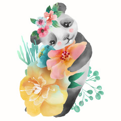 Cute watercolor baby animal panda bear with floral wreath, tied bow and flowers bouquet isolted on white illustration