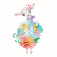 Cute watercolor baby animal sheep with floral wreath, tied bow and flowers bouquet isolted on white illustration