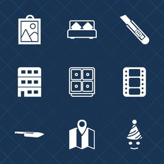 Premium set with fill icons. Such as urban, cutter, tool, architecture, business, party, picture, money, travel, finance, pin, entertainment, photo, film, bank, knife, double, bed, location, clown