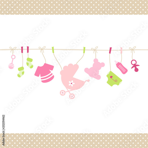 quotbaby girl hanging symbols dots borderquot stock image and