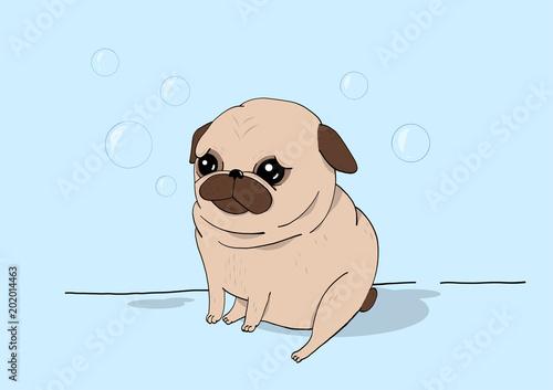 Bubble Buddy Creative Conceptual Still Life Illustration Pug Dog