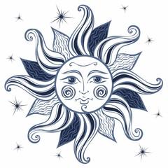 ..Sun. Vintage style. Astrology. Ethnic. Pagan. Boho Style.  Vector